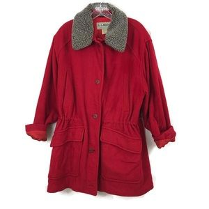 LL Bean Red Wool Blend Drawstring Winter Coat Lg